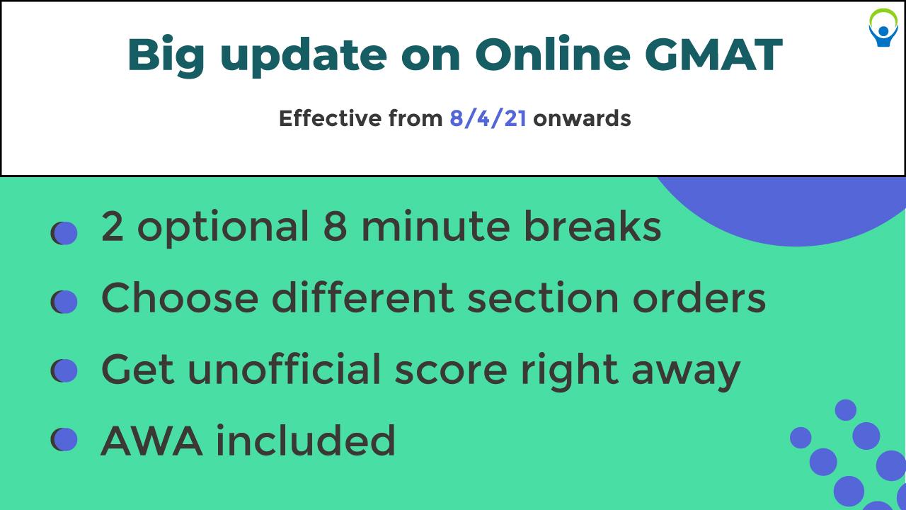 Online GMAT latest updates 2021